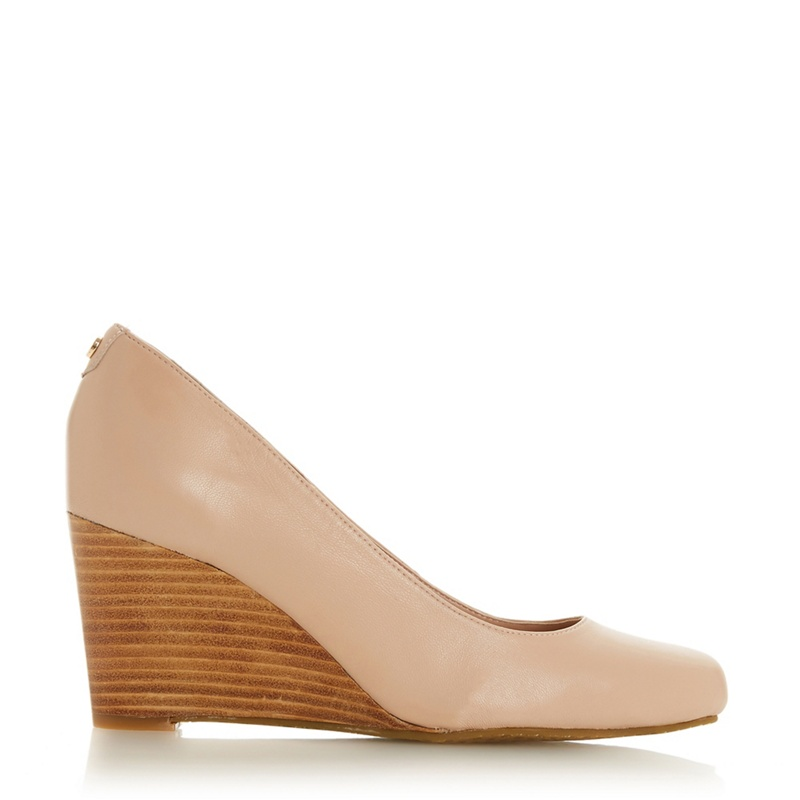 Dune - Cream Leather Wf Allixe 2 High Wedge Heel Wide Fit Co