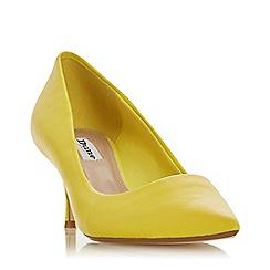 Dune - Yellow Leather 'Astal' Kitten Heel Court Shoes