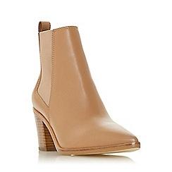 Dune - Camel Leather 'Permit' Mid Block Heel Chelsea Boots