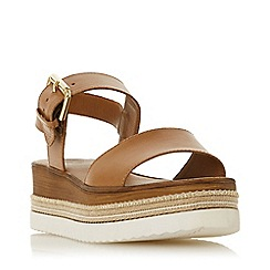 Dune - Tan Leather 'Kaze' Mid Wedge Heel Ankle Strap Sandals