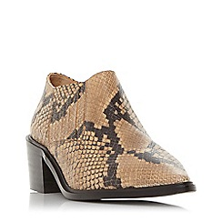 Dune - Natural leather 'Paavo db' mid block heel ankle boots