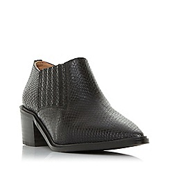 Dune - Black leather 'Paavo db' mid block heel ankle boots