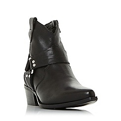 Dune - Black leather 'Panchoe db' mid block heel ankle boots