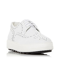 Dune - White Leather 'Edelin Db' Brogues