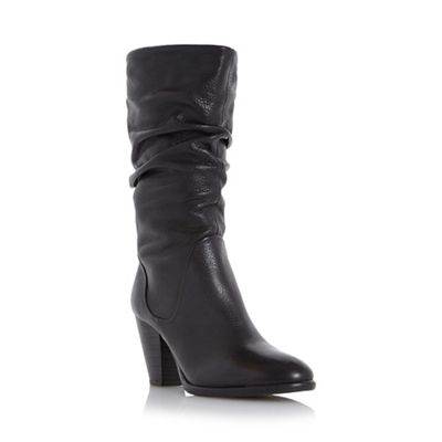Dune - Black 'Rossy' slouchy leather pull on calf boots