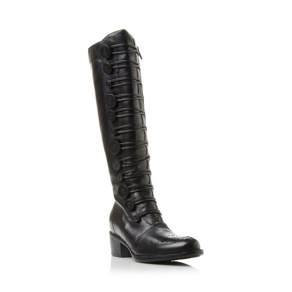 knee Dune 'Pixie d' leather high button detail boot Black qY6wYxRg