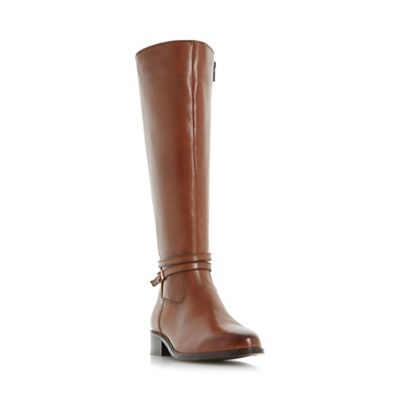 Dune - Brown high 'Taro' buckle and hardware detail knee high Brown riding boots d8a578