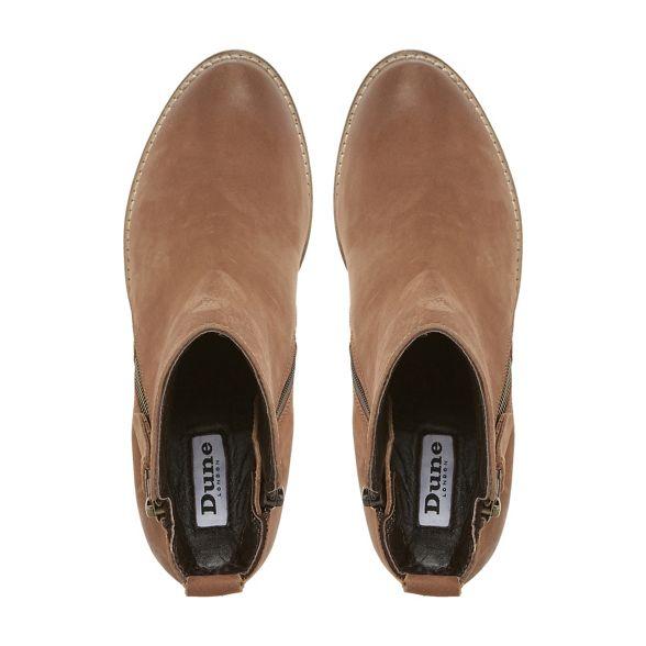 Dune 'Pontoon' heel zip stacked ankle boots side Tan 66qnxUawRH