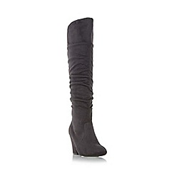 Head Over Heels by Dune - Grey 'Sula' ruched detail knee high boots