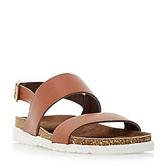 Dune - Tan 'Ice pop' double strap white sole sandal