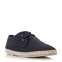 Dune - Navy 'Fennton' canvas mesh lace-up espadrille