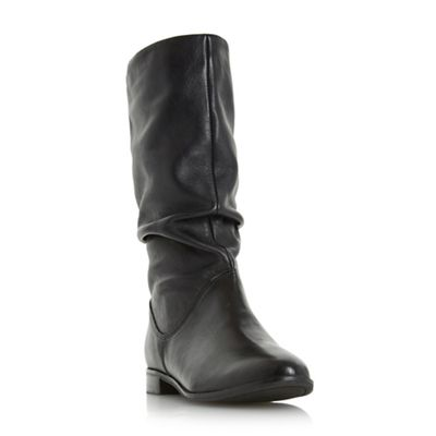 Dune - Black 'Rosalind' slip on ruched calf boot