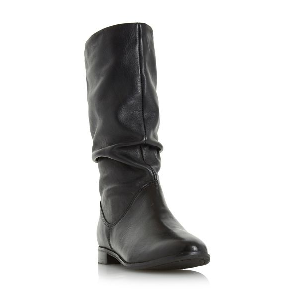 'Rosalind' Black ruched calf slip on Dune boot 5zqw88