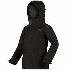 Regatta - Boys Black Hurdle waterproof jacket