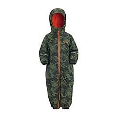 Regatta - Green 'printed splat' kids waterproof suit