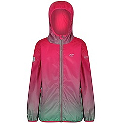 Regatta - Pink 'printed lever' kids waterproof jacket