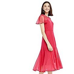 Oasis - Pink spot mesh midi dress