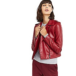 Oasis - Burgundy faux leather 'Lucy' biker jacket