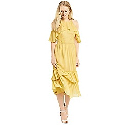 Oasis - Yellow ruffle midi dress
