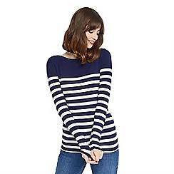 Oasis - Navy and white stripe bretton envelope neck top