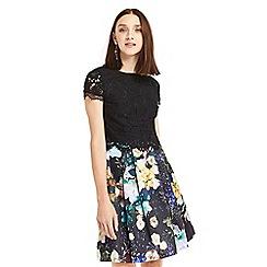 Oasis - Black multi floral 2 in 1 digital pattern dress