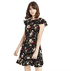 Oasis - Multi black floral magnolia print tea dress