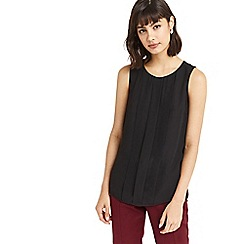 Oasis - Black embellished pintuck shell top