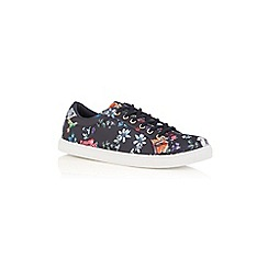 Oasis - Multi navy floral 'Illustrator' print trainers