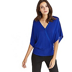 Oasis - Wrap front knit top