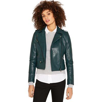 ec192d0950a5 Oasis Dark green faux leather lucy biker jacket | Debenhams