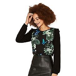 Oasis - Multi black begonia ruffle blouse