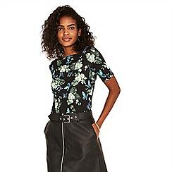 Oasis - Multi black begonia short sleeves boatneck top