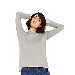 Oasis - Grey stripe back star shirt tails jumper