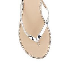 Oasis - Silver 'Coco' diamante flip flops