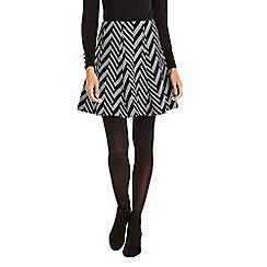 Oasis - Black and grey chevron print jacquard skirt