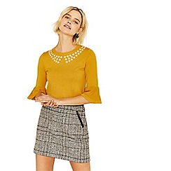 Oasis - Yellow buttercup embroidered flare cuff knit jumper
