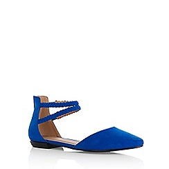 Oasis - Blue 'Pippa' plaited 2 part flats