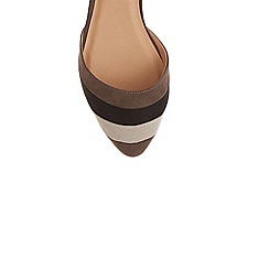 Oasis - Light brown 'Serena' stripe 2 part flat shoes