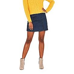 Oasis - Dark wash structured frill mini skirt