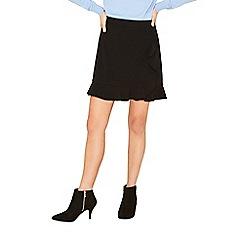 Oasis - Black ruffle wrap mini skirt