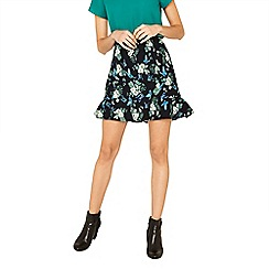 Oasis - Multi green orchid print flippy skirt
