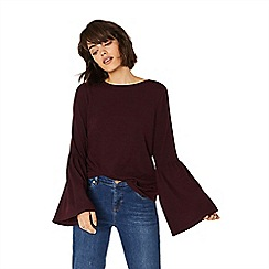 Oasis - Burgundy bell sleeve cosy top