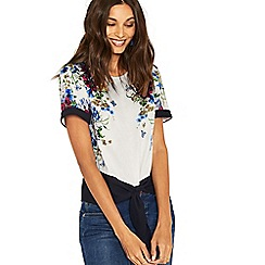 Oasis - Multi natural placement floral tie front tee