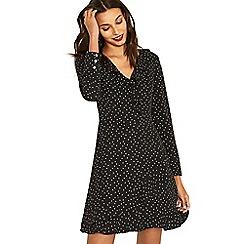 Oasis - Black and white spot frill long sleeve tea dress