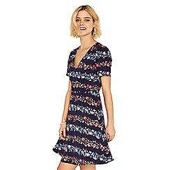 Oasis - Navy stripe multi floral ditsy skater dress