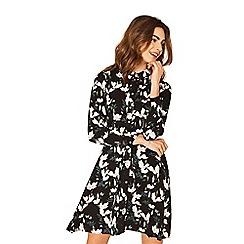 Oasis - Multi black magnolia skater shirt dress