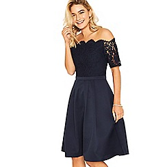 Oasis - Navy lace top bardot 2 in 1 skater dress