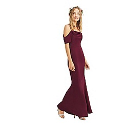 Oasis - Burgundy 'Amy' slinky cowl neck maxi dress