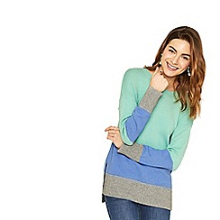 Oasis - Green, blue and grey long length colour block knit