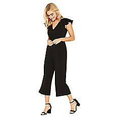 Oasis - Black frill sleeve v neck jumpsuit